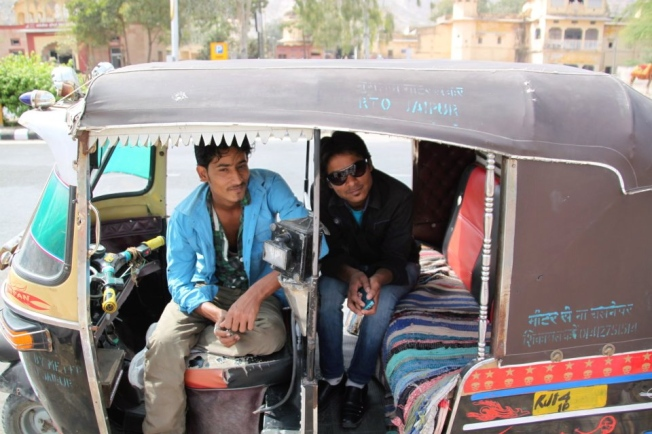 Conductores autorickshar en Jaipur