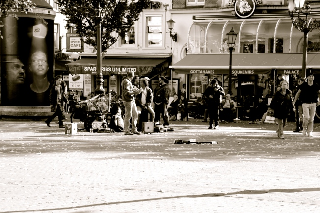 Músicos en Leidseplein